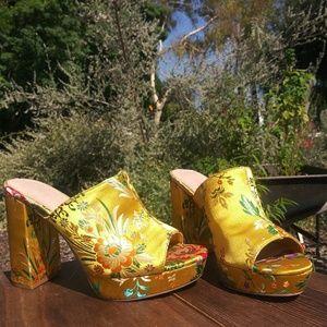 Floral Embroidered Forever 21 Heels